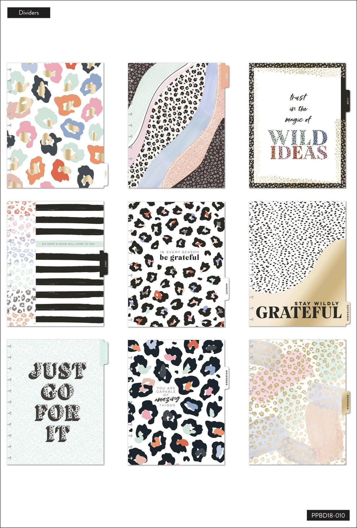 Agenda Happy Planner 2021-2022 Grande Dashboard Colorful Leopard Big 18 meses