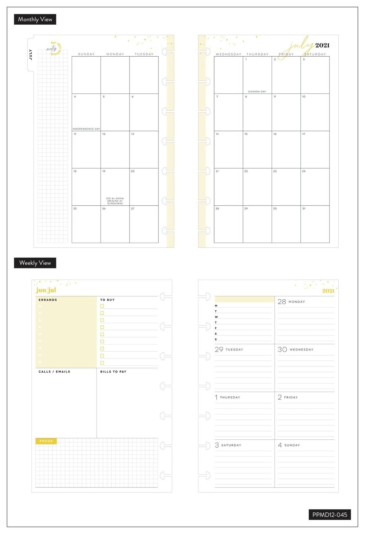 Agenda Happy Planner 2021-2022 Mini Dashboard Just Bloom 12 meses