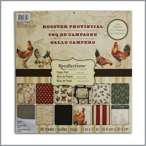 Paper Pad 12X12 ROOSTER HANGING STACK