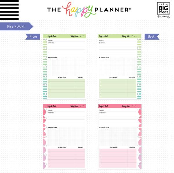 Hojas Mini Happy Planner Project Sheets