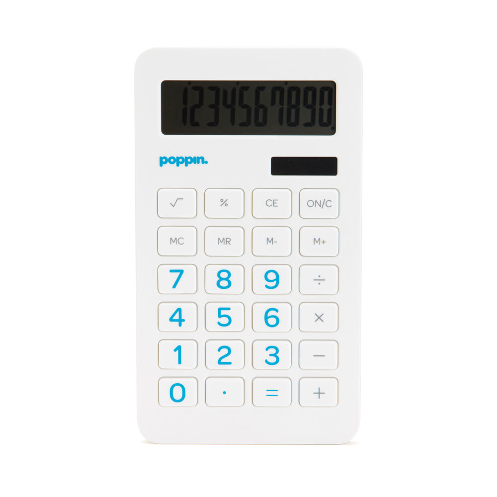 Eco-Calculator -White w/ Pool Blue Numbers