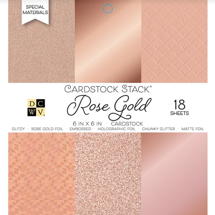 Paper Pad 18 hojas MAT STACK - DCWV - 6 X 6 - SOLID ROSE GOLDS - Glitter and Foil