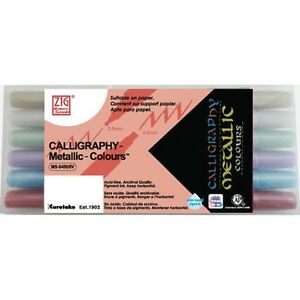 Set 6 Color Metallic Colours In Paper Box Zig Memory System Calligraphy