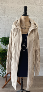 Cable Knit Hood Cardi