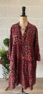 Tiger Print Collar Dress