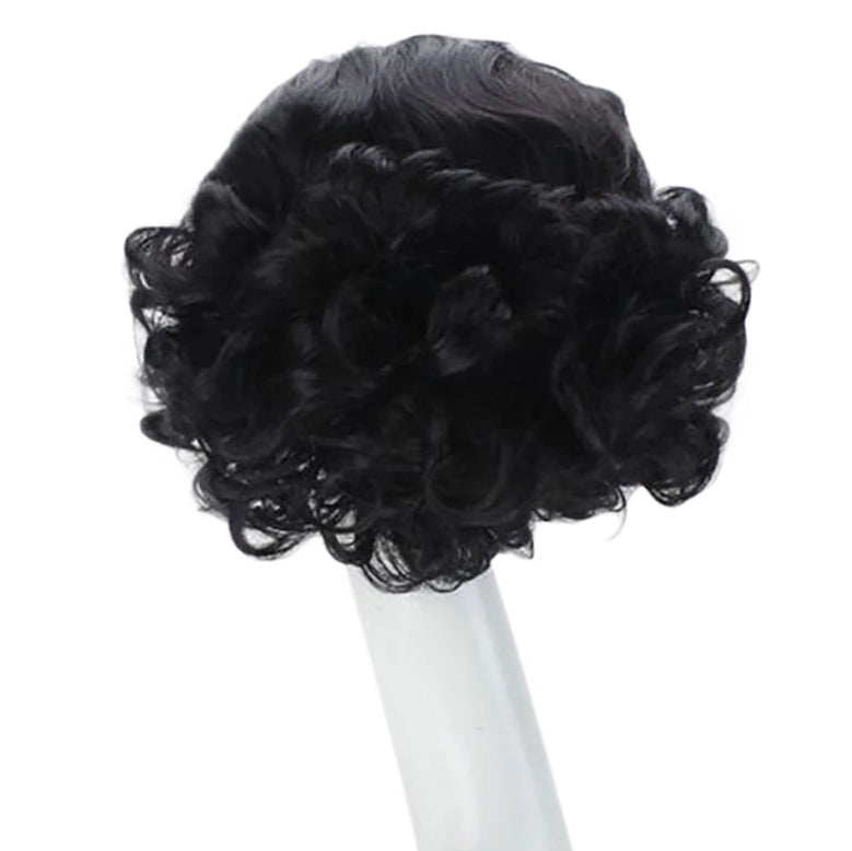 Short Curly Black High Temperature Fiber Synthetic Hair White Princess Cosplay Wig For Halloween