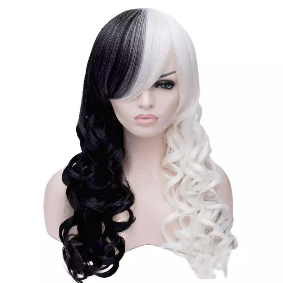 Brand New Side Bangs Half White Black Layered Synthetic Cosplay Wig For Women Party Halloween + Wig Cap