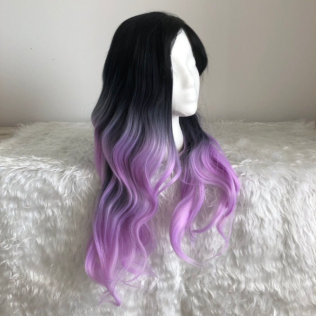 Ombre Long Wavy Wigs For Women Synthetic  Daily Party Heat Resistant False Hair wig
