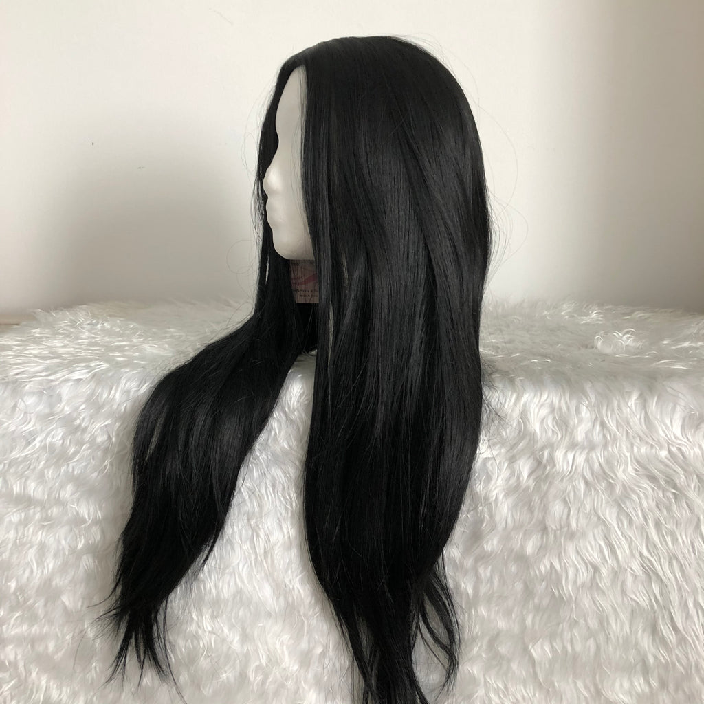 Black Wig Side Part Long Straight Wig Heat Resistant Synthetic Daily Party Wig for Women