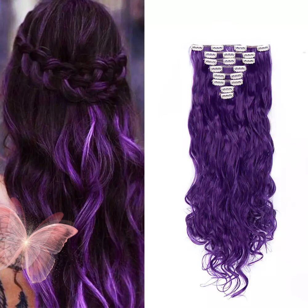 24inch 8pcs Wavy 18 Clips in Styling Synthetic Hair Extensions Purple for women