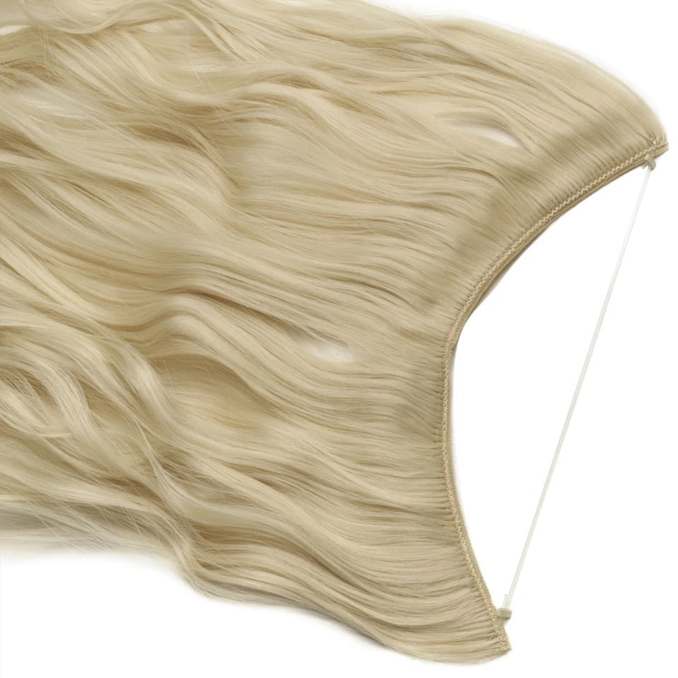 20 inch Invisible Wire One Piece Halo Wavy Hair Extension Flip in Synthetic hair for women