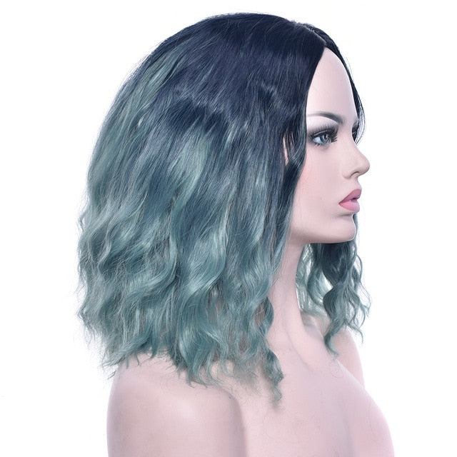 Wavy Gray Pink Synthetic Hair
