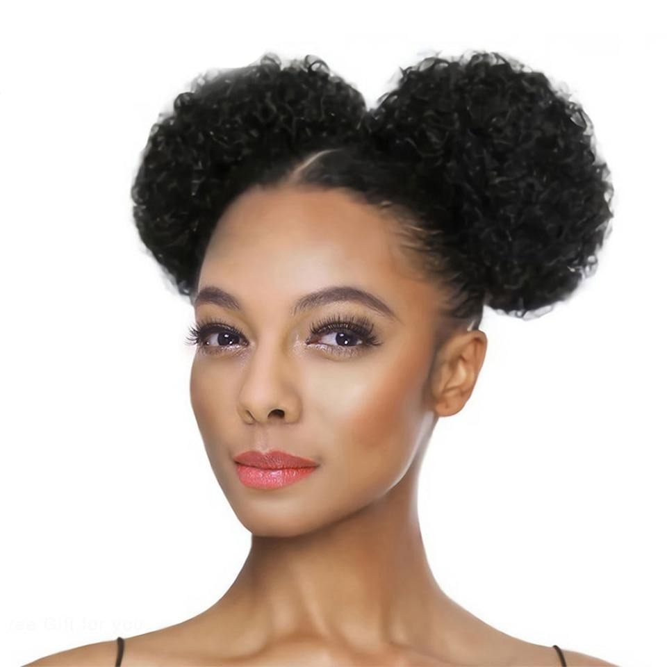 Puff Drawstring Ponytail Human Hair Curly