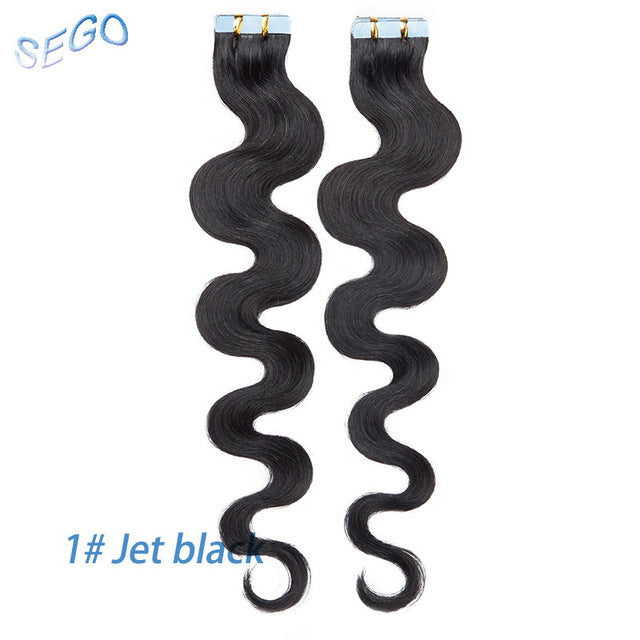 "14""-24"" 20/40pcs Body Wave Band In Human Hair Extensions Tape in Adhesive Seamless Hair Non-Remy Weft Hair"