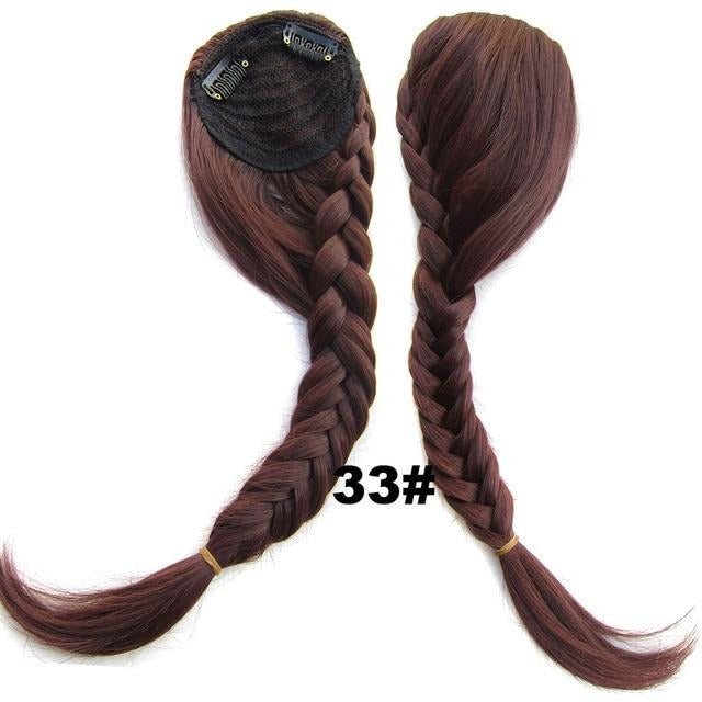 Synthetic Fishtail Plaited Braided Gradient Bangs