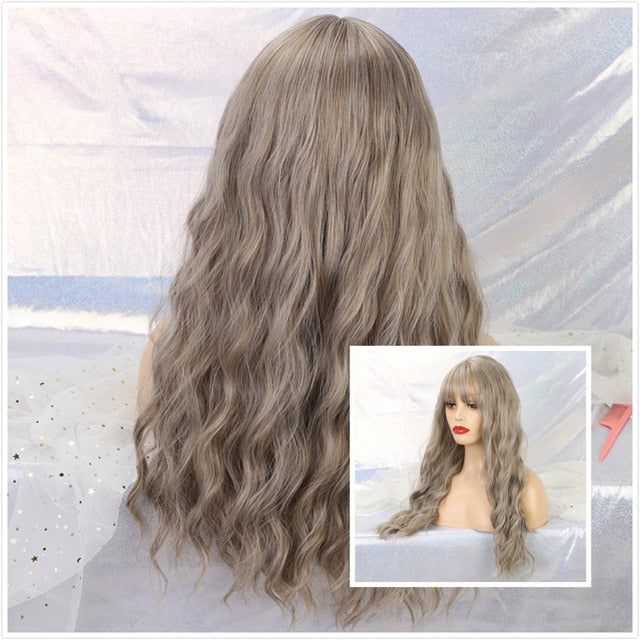 Long Light Blonde Synthetic Wavy Wigs