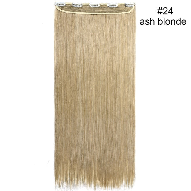 46-76 CM Long Clip in One Piece Hair Extensions Natural Straight Synthetic 5 Clips Hairpiece for women