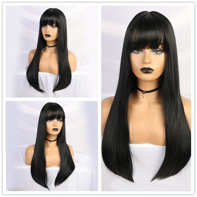 Long Straight Synthetic Wigs Brown