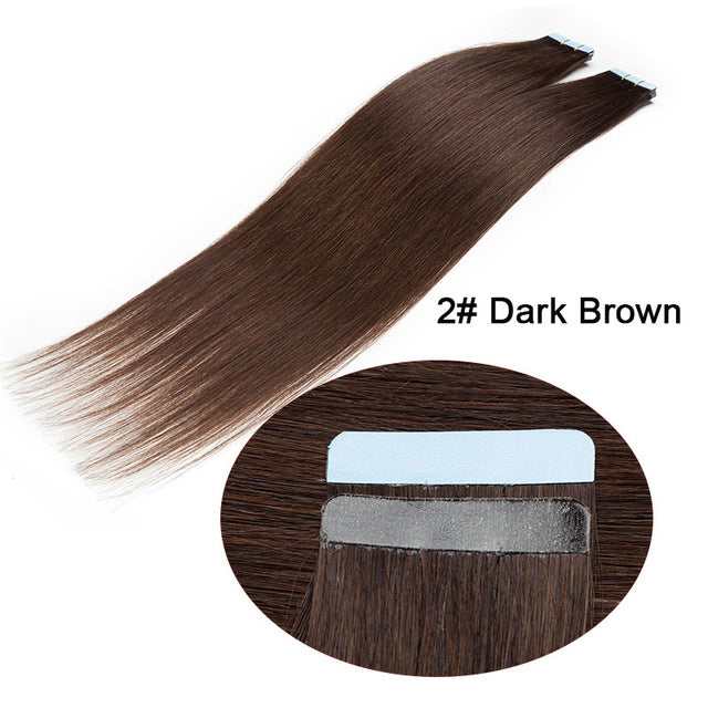 "16"" Straight Tape In Human Hair Extensions Non-remy Adhesive Invisible PU Seamless Skin Hair"