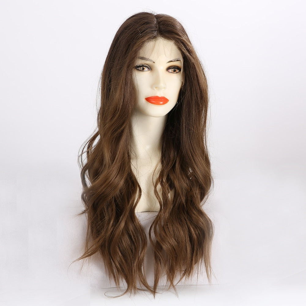 Brown Wavy Lace Front Synthetic Wigs