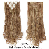 24inch 8pcs Wavy 18 Clips in Styling Synthetic Hair Extensions for women