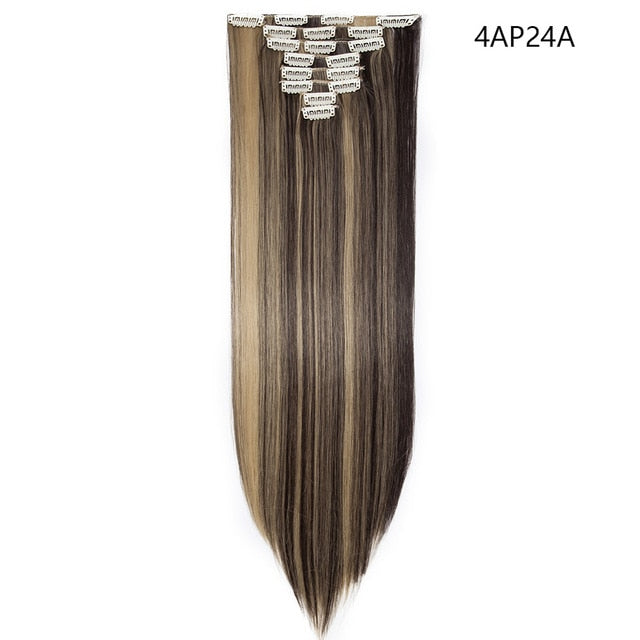 26inch 8pcs/set clip in hair extensions straight natural synthetic hair for women