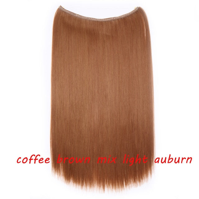 20 inch Invisible Wire One Piece Halo Hair Extension Flip in Synthetic hair for women