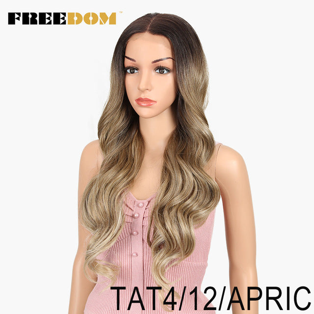 360 Lace Front Synthetic Wigs For Women Supreme Hair cosplay Ombre Blond Red Color
