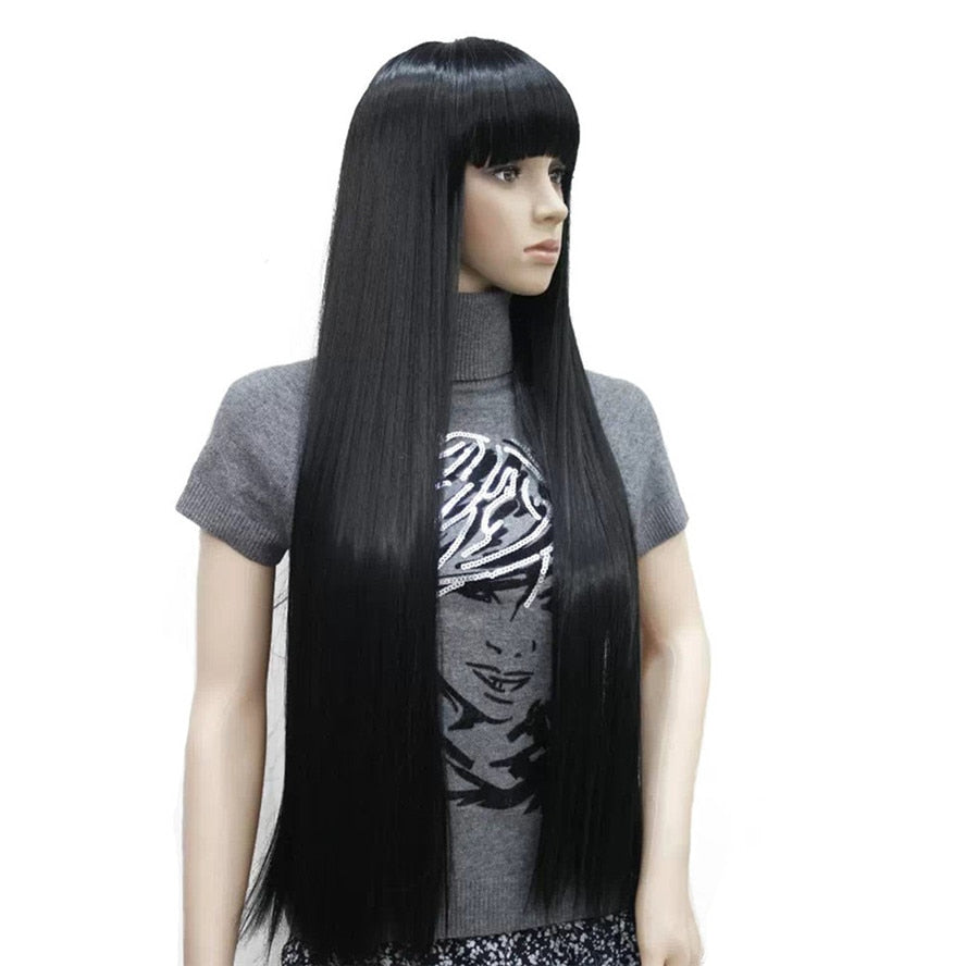 Women's Wigs Neat Bang Black