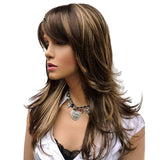 Long Layered Brown Highlights Classic Wig