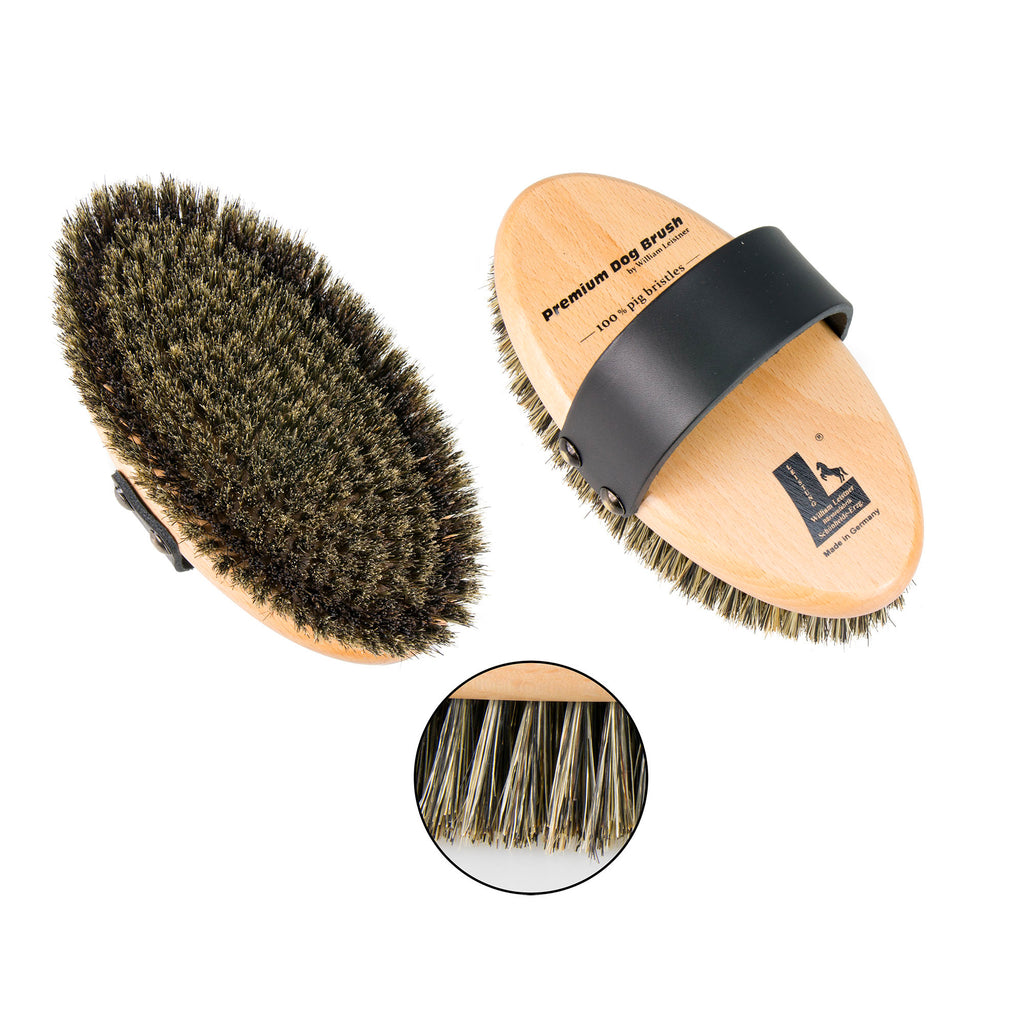 Leistner Natural Bristle Premium Dog Brush with extra firm border bristles Medium