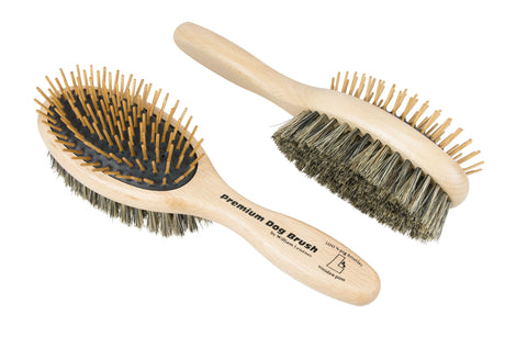 Leistner Natural Bristle Premium Dog Brush Detangle Duo