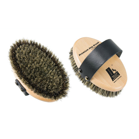 Leistner Natural Bristle Premium Dog Brush with extra firm border bristles Small