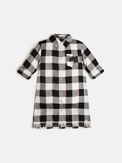 SEQUIN TARTAN PRINT LUREX SHIRT - Guess