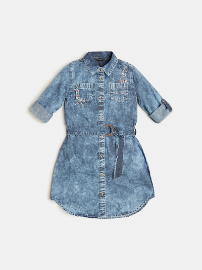 JEWEL APPLIQUÉ BLEACH JEANS DRESS - Guess