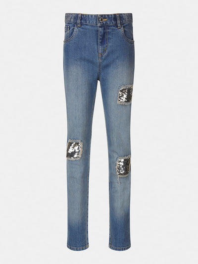 SKINNY FIT SEQUINS DENIM PANT - Guess