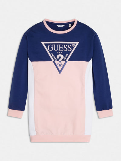 TRIANGLE LOGO COLOR BLOCK DRESS - Guess