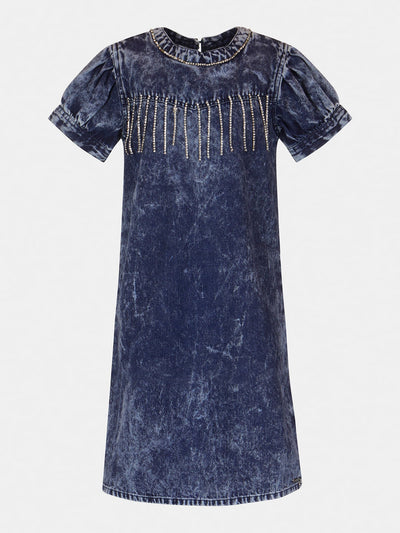 RHINESTONES FRINGES DENIM DRESS - Guess
