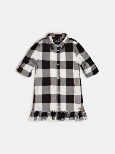 RUFFLE INSERT TARTAN DRESS - Guess