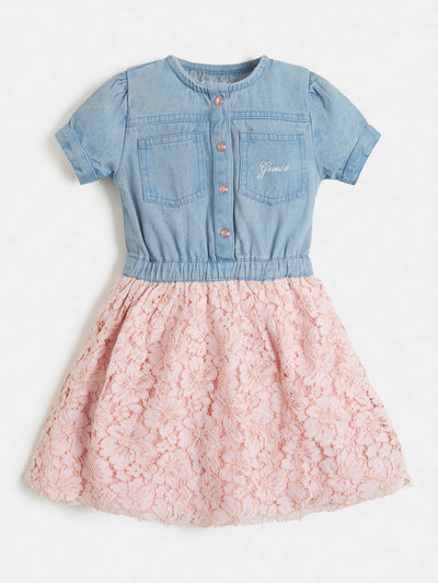 LACE INSERT DENIM DRESS - Guess