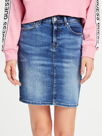 ASIA MIDI DENIM SKIRT - Guess