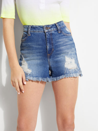 CLAUDIA SUPER-HIGH RISE FRAYED DENIM SHORTS SEASIDE WASH - Guess