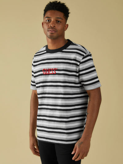 GUESS ORIGINALS EMBROIDERED STRIPE TEE METALLIC SILVER/BLACK COLOUR - Guess