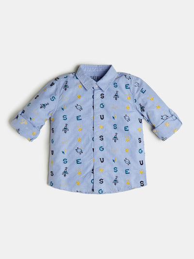ALL OVER LOGO EMBROIDERY SHIRT - Guess