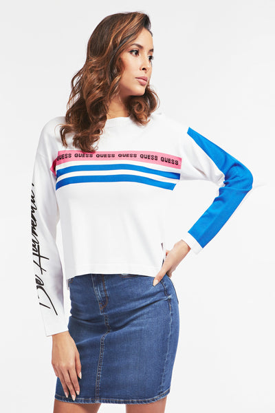 PAOLA FRONT LOGO STRIPED PRINT SWEATER - Guess