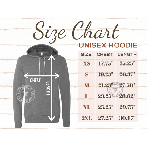 size chart and measurements for unisex hooded sweatshirt