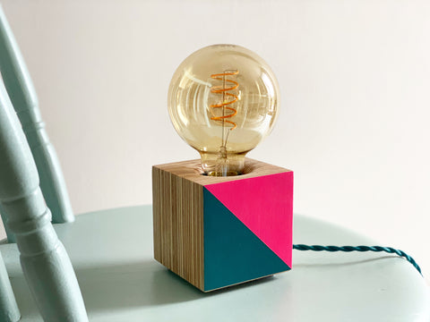 Cube Lamp Base [Neon Pink & Peacock]