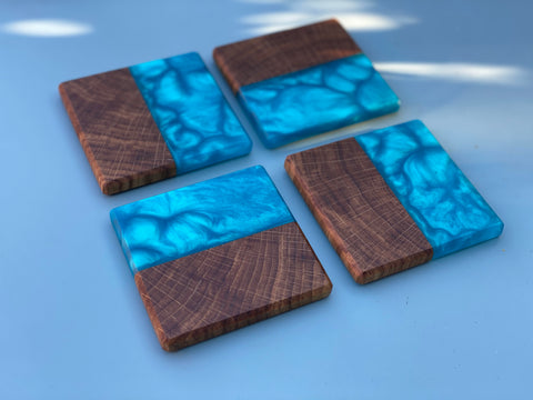 Oak & Okinawa Blue Resin Coasters