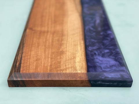 Walnut & Midnight Purple Resin Serving Board