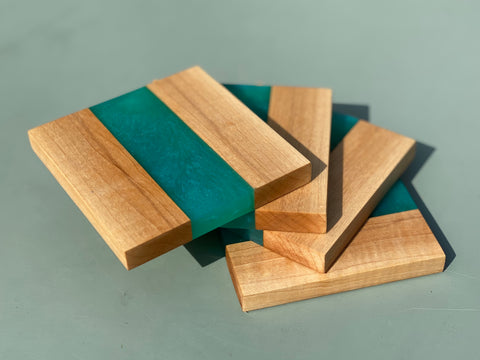 Maple & Turquoise Resin Strip Coasters